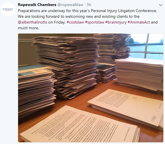 Tweet: preparations are underway for RopeWalk Chambers 12th Personal Injury Litigation Conference