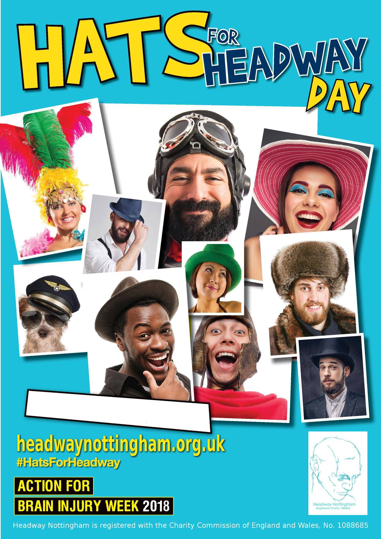 Hats for Headway Day poster - Headway Nottingham