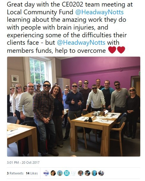 Tweet: Co-op Management Team attend Brain Injury Workshop at Headway Nottingham