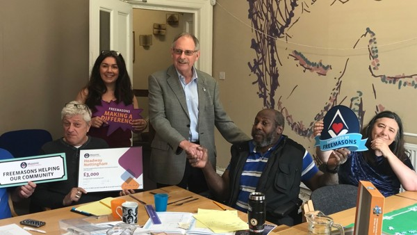 Notts Masons visit Headway Nottingham to celebrate the donation from the Masonic Charitable Foundation